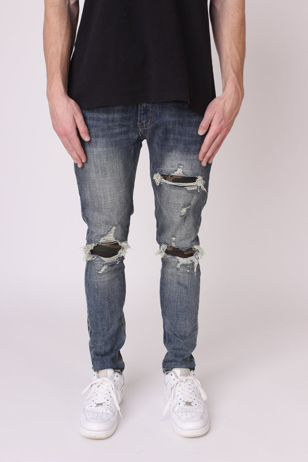 Camo Panelled Denim