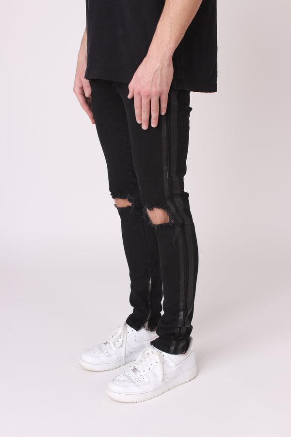 Black Destroyed Panelled Denim