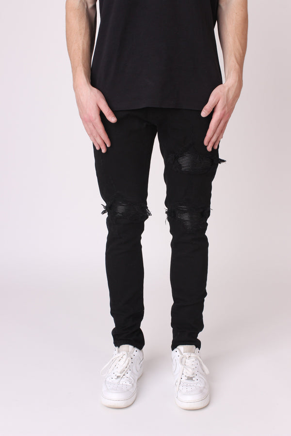 Black Panelled Denim