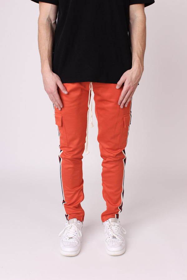 Orange Striped Panel Cargo Joggers