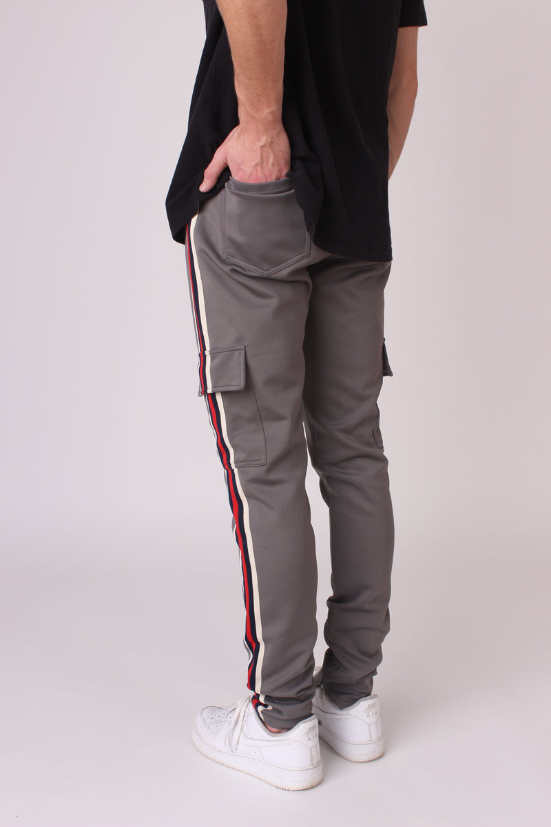 Grey Striped Cargo Joggers