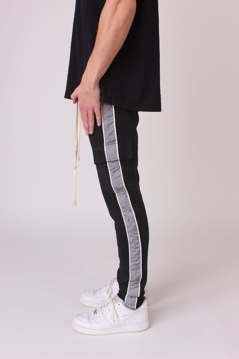 Black Reflective Striped Panel Cargo Joggers