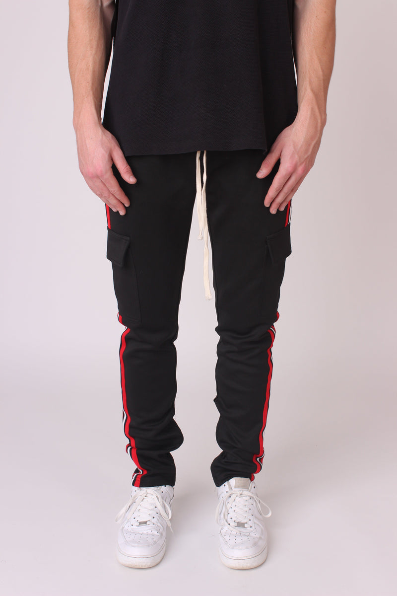 Black Striped Cargo Joggers