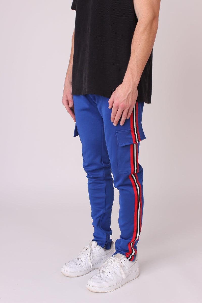 Blue Striped Cargo Joggers