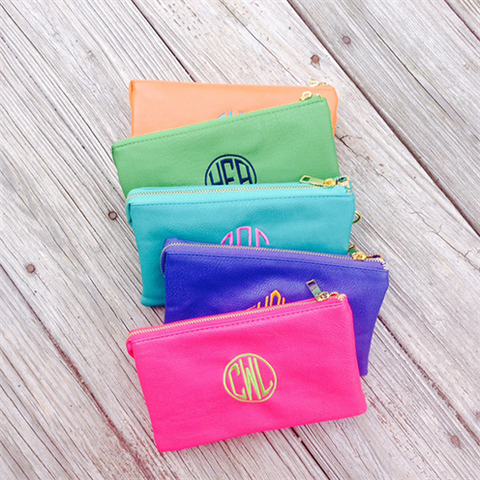 Monogrammed Leatherette Convertible Cross Body