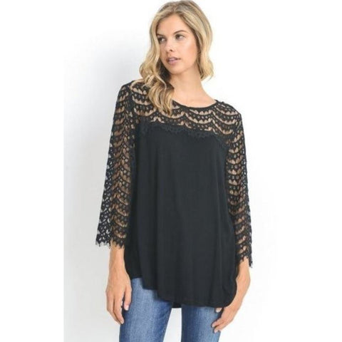 Jodifl Solid Black Lace Top