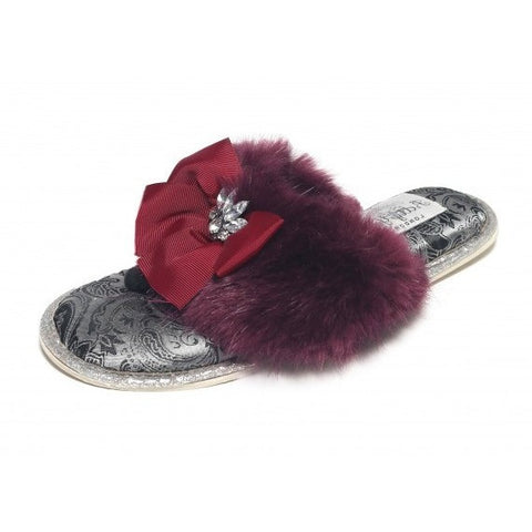 Pretty You London Saffron Burgundy Slipper