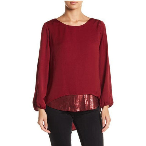 Democracy Sequin Contrast Hem Cold Shoulder Twofer Top