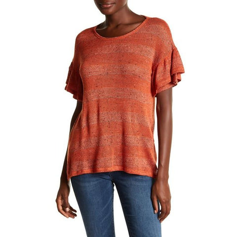 Democracy Orange Short Flutter Sleeved Top