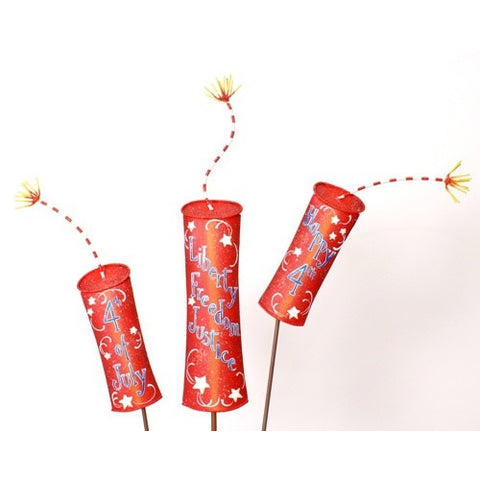 Round Top Freedom Firecracker Yard Stake Set of 3