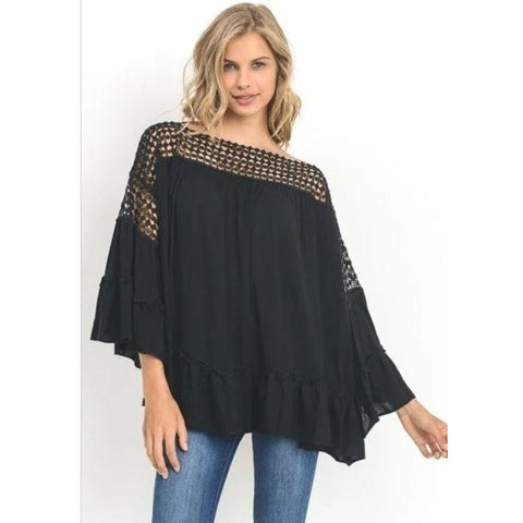 Jodifl Ruffled Crochet Black Top
