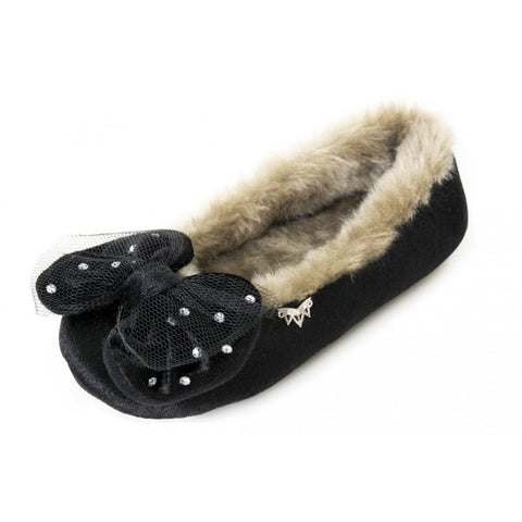 Pretty You London Faith Black Slipper