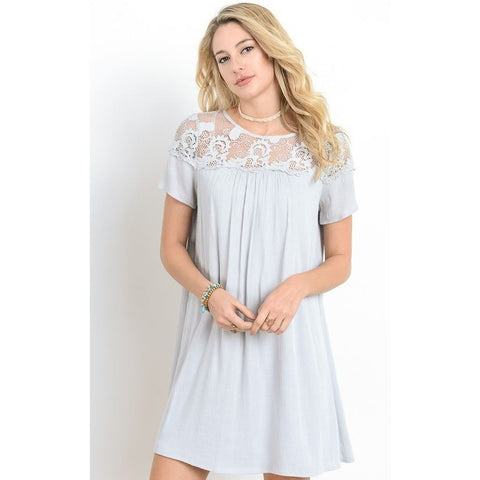 Skye Yoke Light Gray Lace Dress