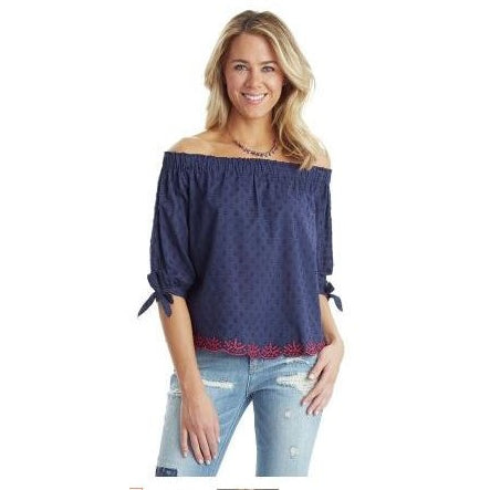 Democracy Navy Off Shoulder 3/4 Tie Knot Sleeve Top