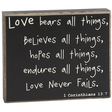 Love Bears All Things... Box Sign