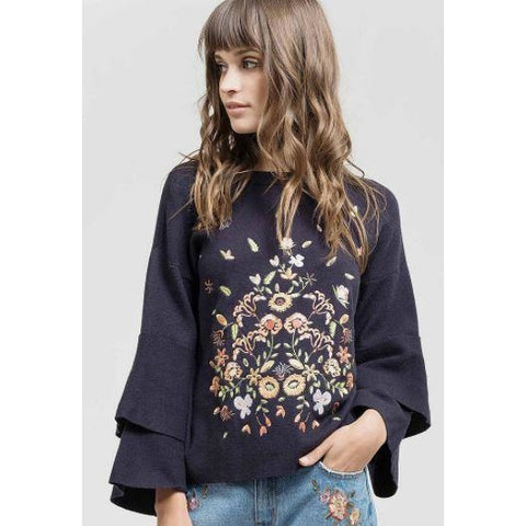 Blu Pepper Navy Embroidered Sweater