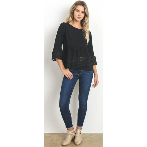 Doe & Rae Black Eyelet Top