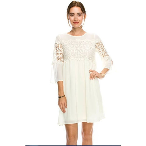 Stacy Lace Sleeve White Dress