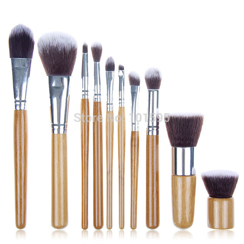 10 PCS Pro Cosmetic Brush set Bamboo Handle Synthetic Makeup Brushes Kit