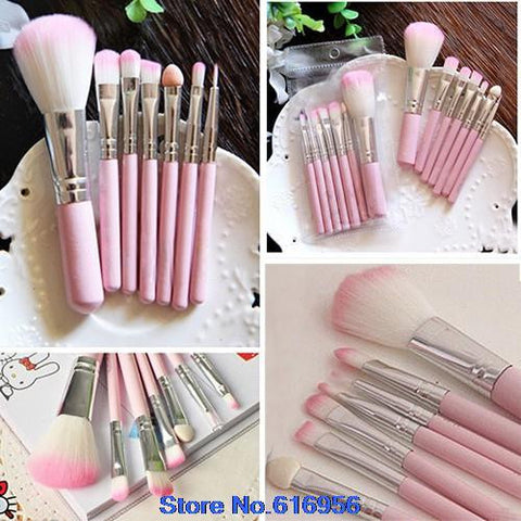 7Pcs Pro Pink Makeup Brush Set (Hello Kitty)