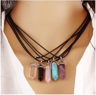 Trendy Natural Stone Amethyst Necklace (Set of 5)