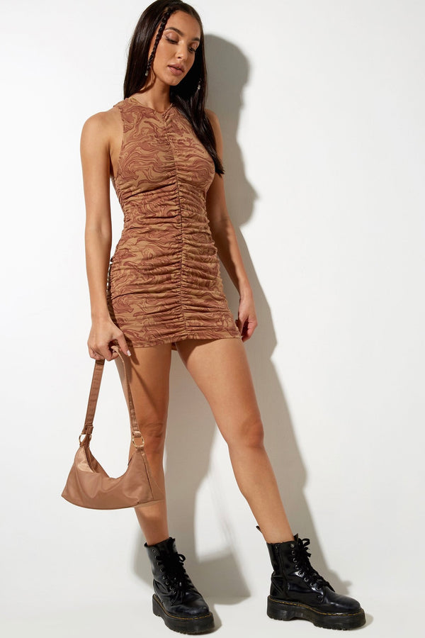 Aeliran Mini Dress - Brown Marble