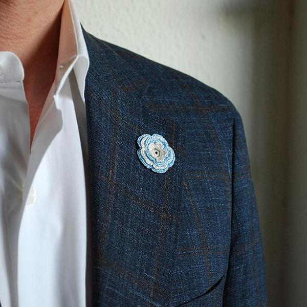 Chelsea Boutonniere in Sky Blue and White on Suit