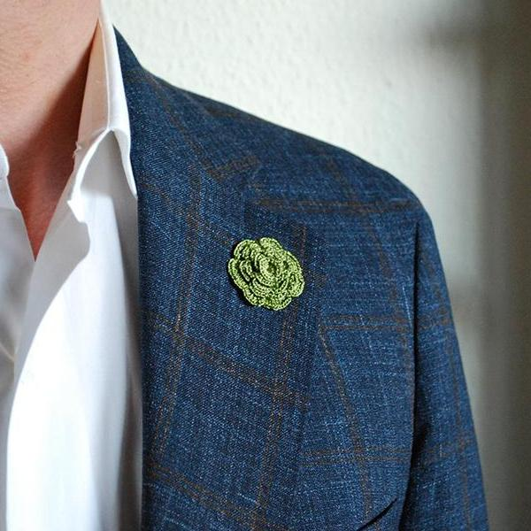 Mayfair Boutonniere in Envy Green on Suit