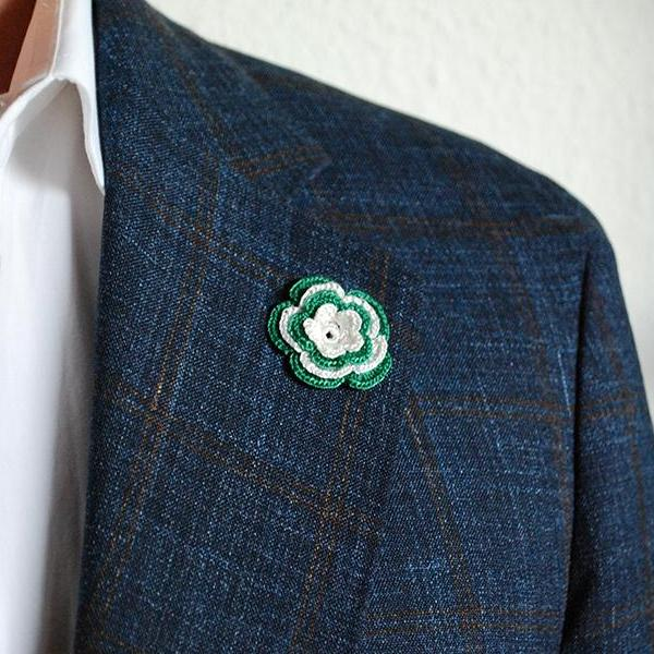 Chelsea Boutonniere in Emerald Green and White on Suit