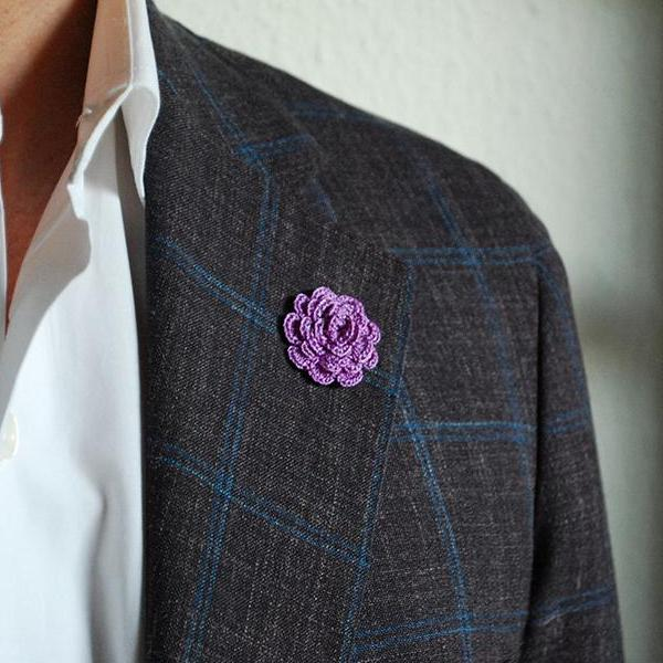 Mayfair Boutonniere in Royal Purple on Suit