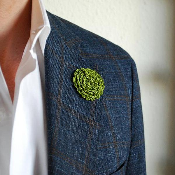 Ascot Boutonniere in Envy Green on Suit