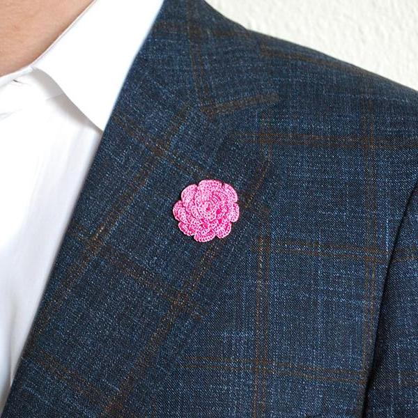 Mayfair Boutonniere in Lychee Pink on Suit
