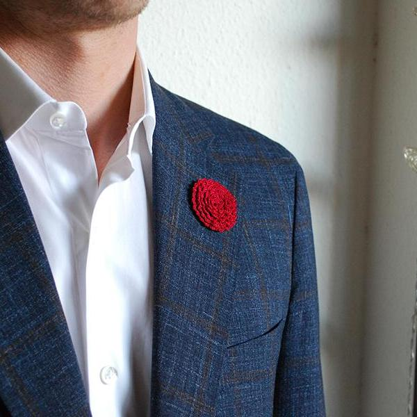 Ascot Boutonniere in Rich Red on Suit