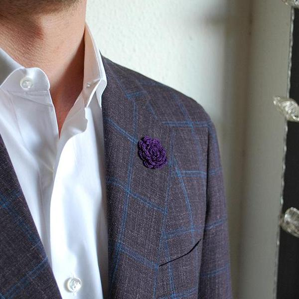 Mayfair Boutonniere in Deep Purple on Suit