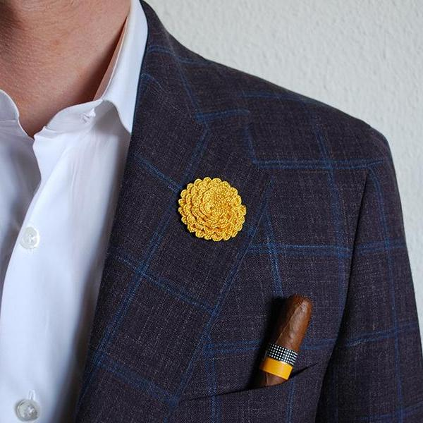 Ascot Boutonniere in Summer Yellow on Suit