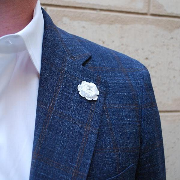 Westminster Boutonniere in White on Suit