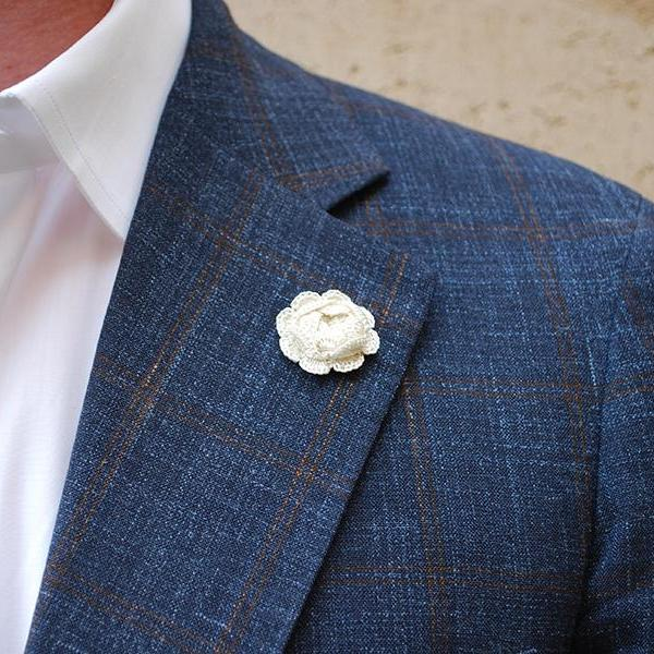 Westminster Boutonniere in Ivory White on Suit