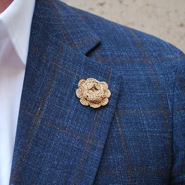 Westminster Boutonniere in Camel Brown on Suit