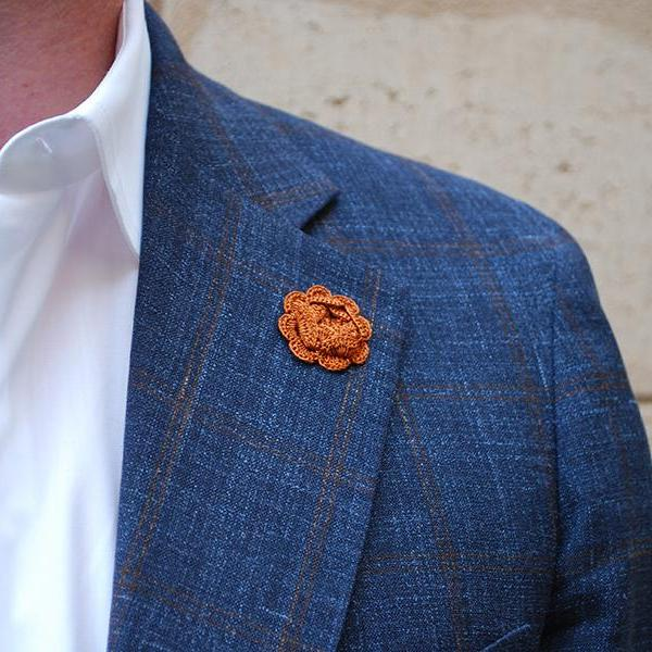 Westminster Boutonniere in Mars Brown on Suit