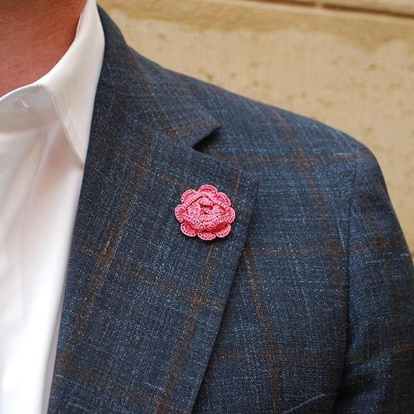 Westminster Boutonniere in Rose Pink on Suit