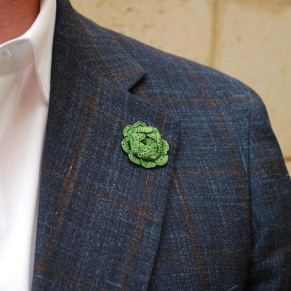 Westminster Boutonniere in Emerald Green on Suit