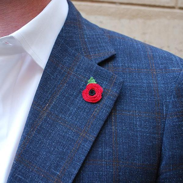 Poppy Boutonniere in Red with Leaf on Suit