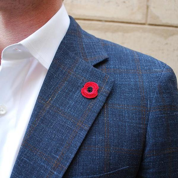 Poppy Boutonniere in Red on Suit