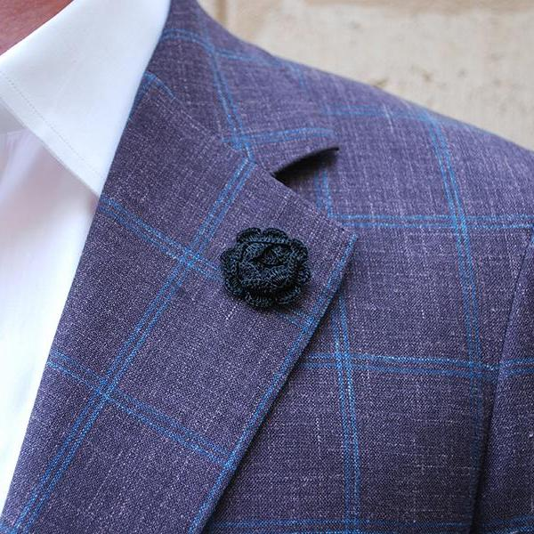Westminster Boutonniere in Charcoal Black on Suit