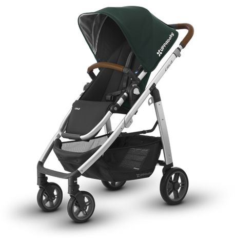 Cruz Stroller Silver Frame - Leather Accents