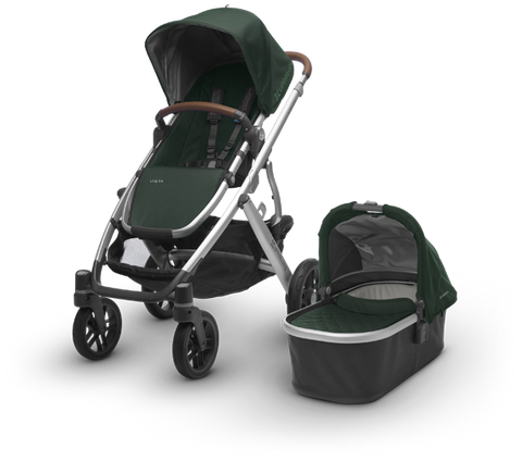 Vista Stroller Silver Frame - Leather Accents