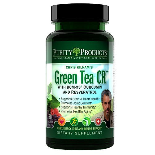 Purity Products - Green Tea CR (Green Tea + Curcumin + Resveratrol) - 60 Vegetarian Capsules - 30 Day Supply