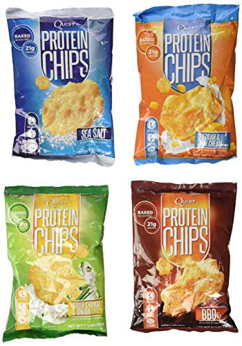Quest Nutrition Protein Chips, Variety Pack Including BBQ, Sea Salt, Cheddar & Sour Cream,& Sour Cream & Onion, Pack of 4, 1 Bag of Each