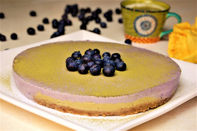 Raw avocado Matcha blueberry pie