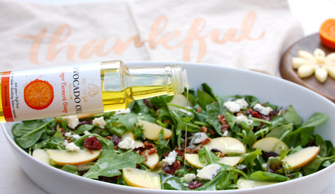 Honeycrisp apple salad with ginger-turmeric-orange avocado oil